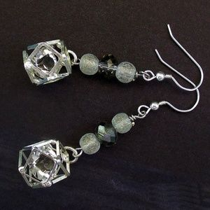 Sparkly Silver Crystal Cage Bead Earrings